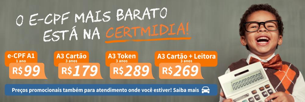O e-CPF mais barato está na Certmidia