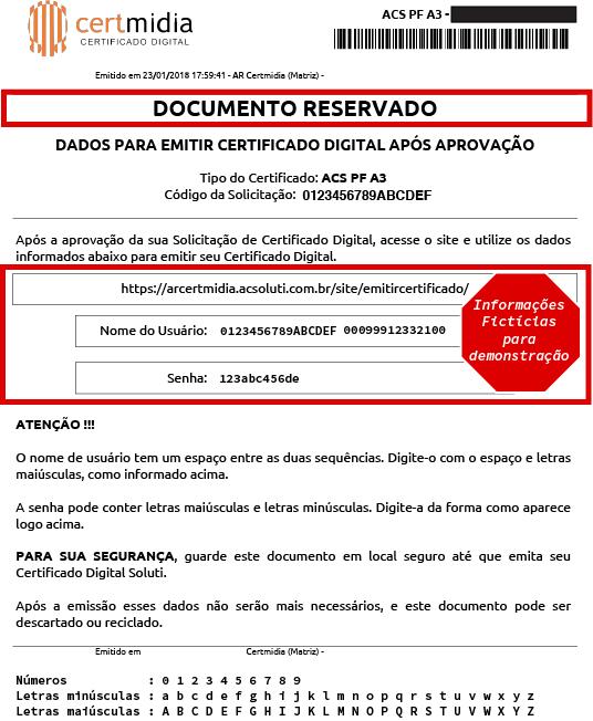 Exemplo de Documento Reservado - Certificado Soluti